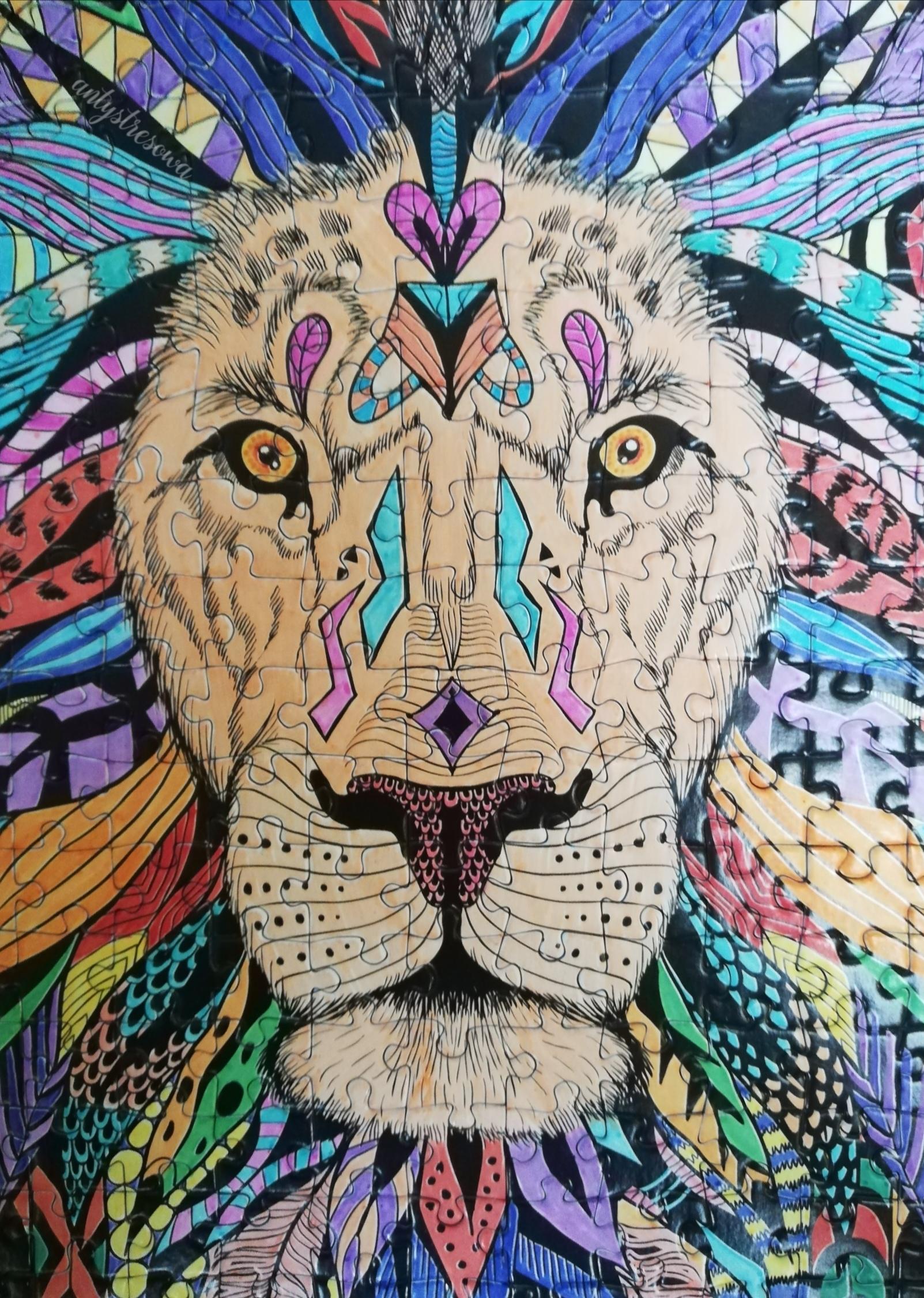 Lew - puzzle do kolorowania