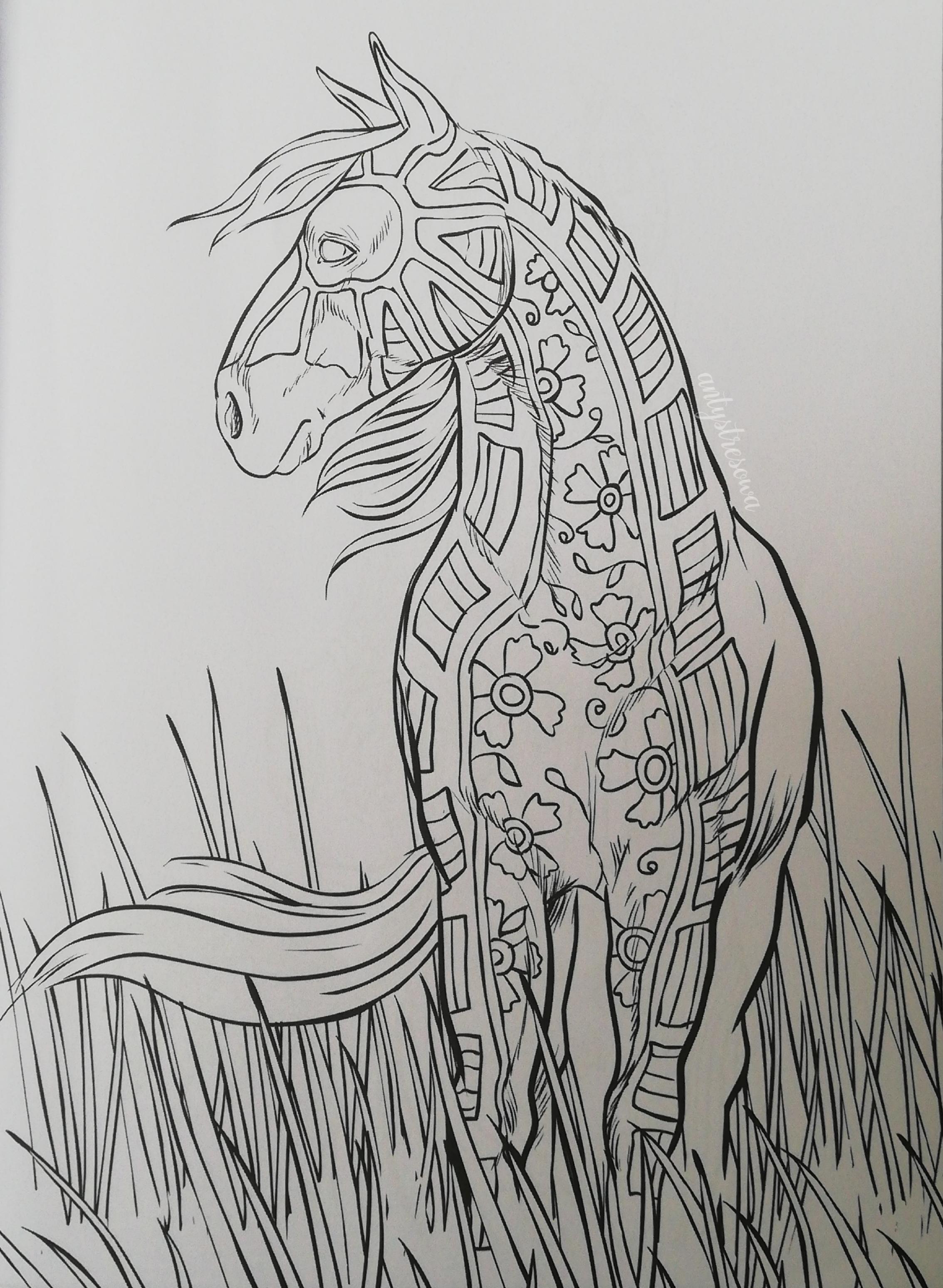 Rysunek konia w kolorowance dla dorosłych.