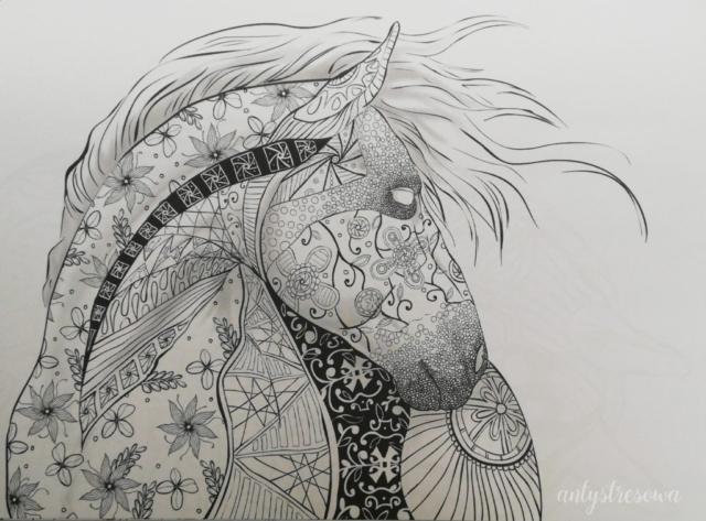 Koń - kolorowanka antystresowa.