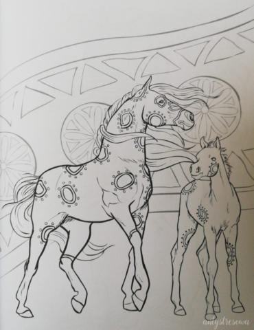 Jedna z kolorowanek w książce o koniach.