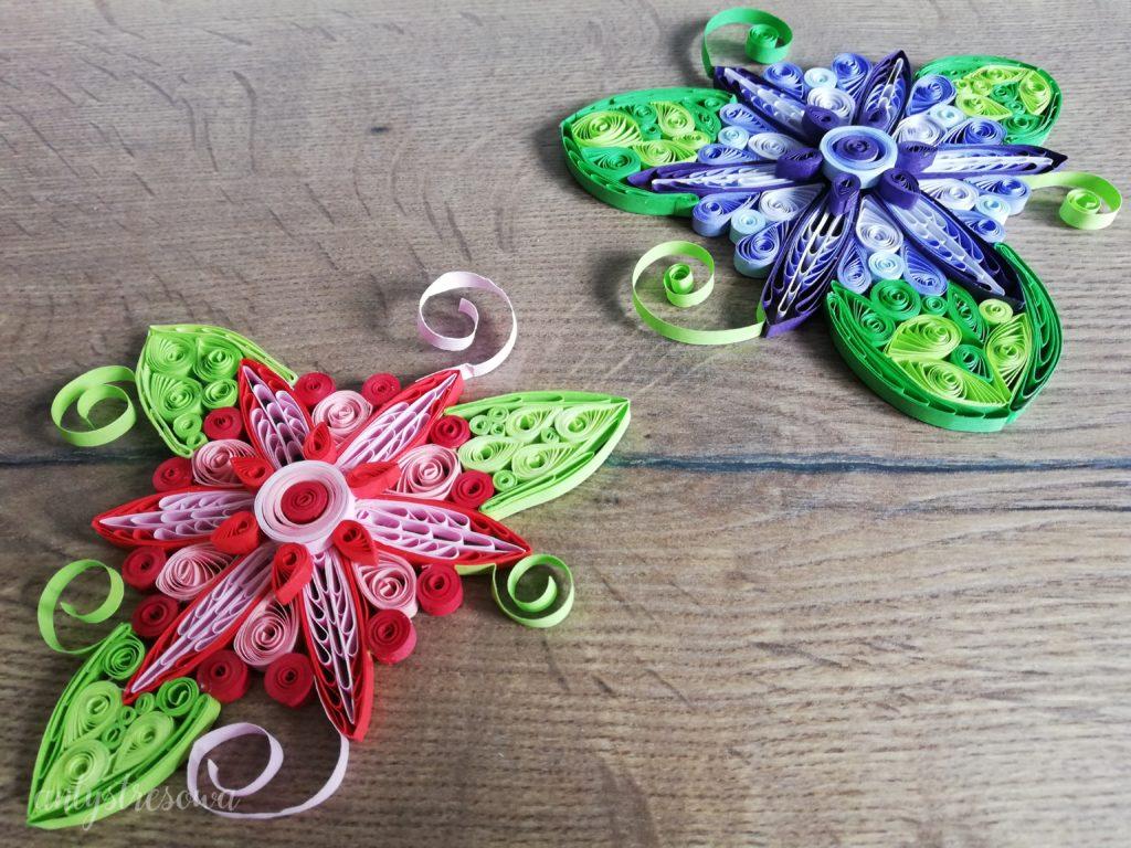 kwiatki wykonane metodą Quillingu