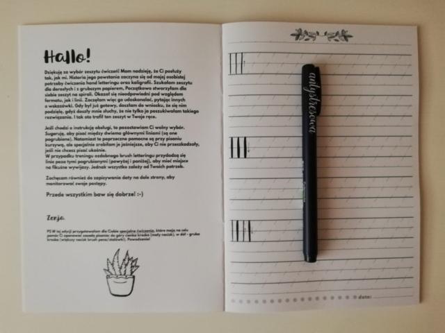 ierwsze strony arkuszu do ćwiczeń do kaligrafii
