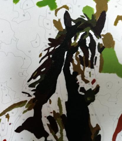 Fragment malowanki - głowa końska.
