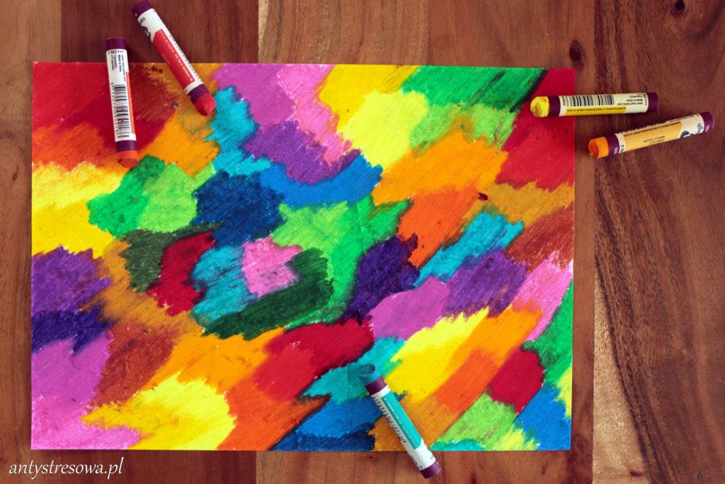 Kartka pokolorowana pastelami olejnymi