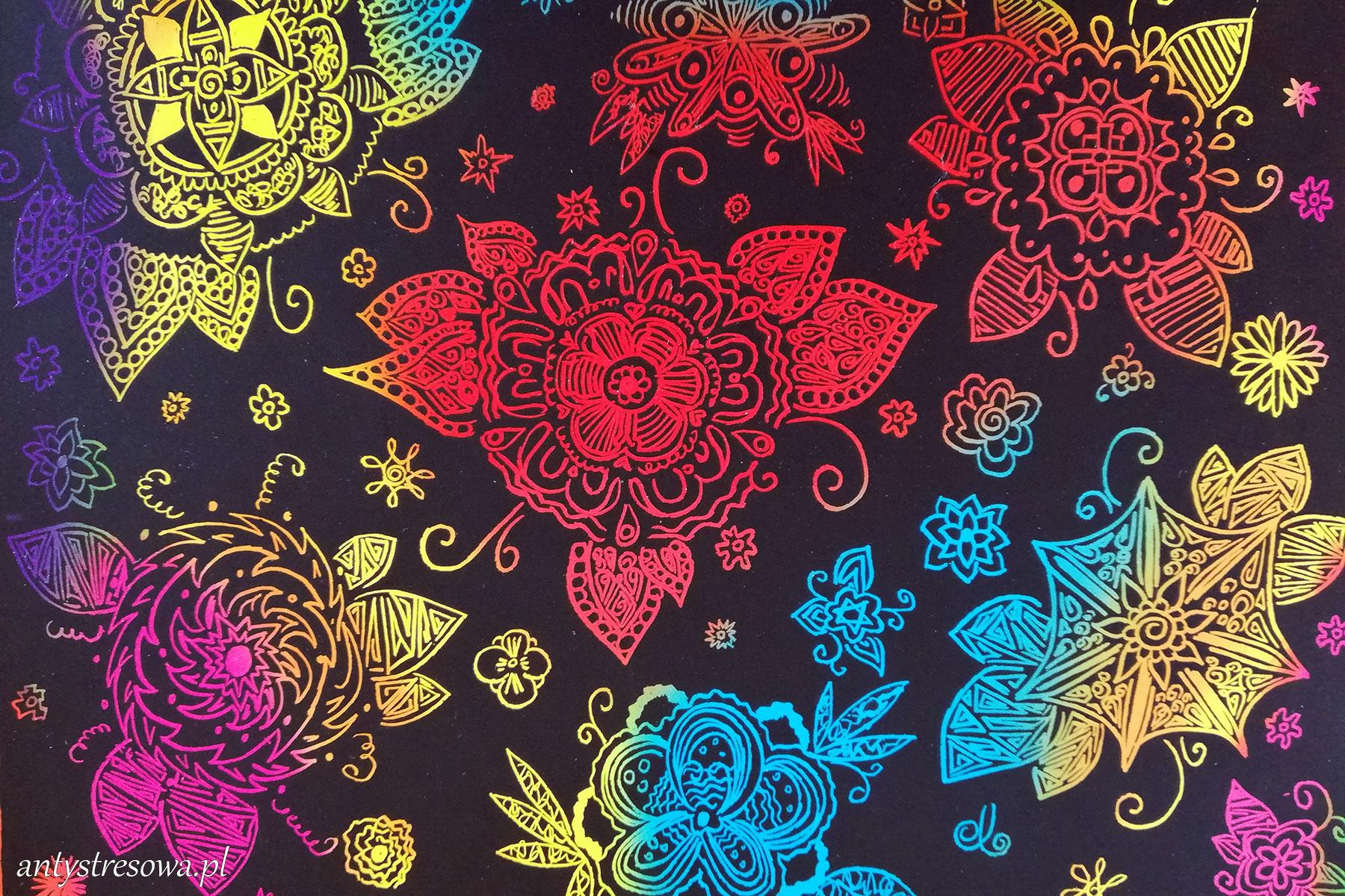 Fantazyjne kwiatki - wydrapywanka