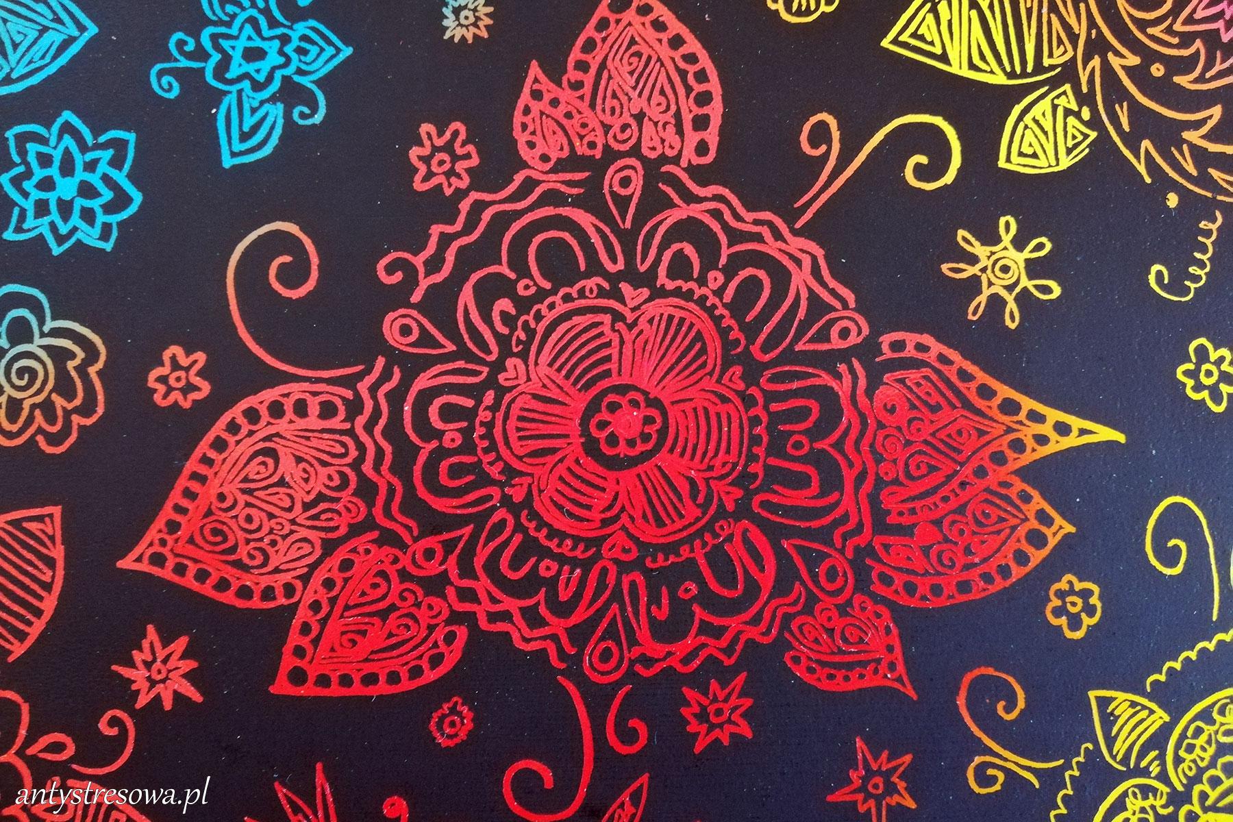 Czarny papier do wydzierania - kwiatek