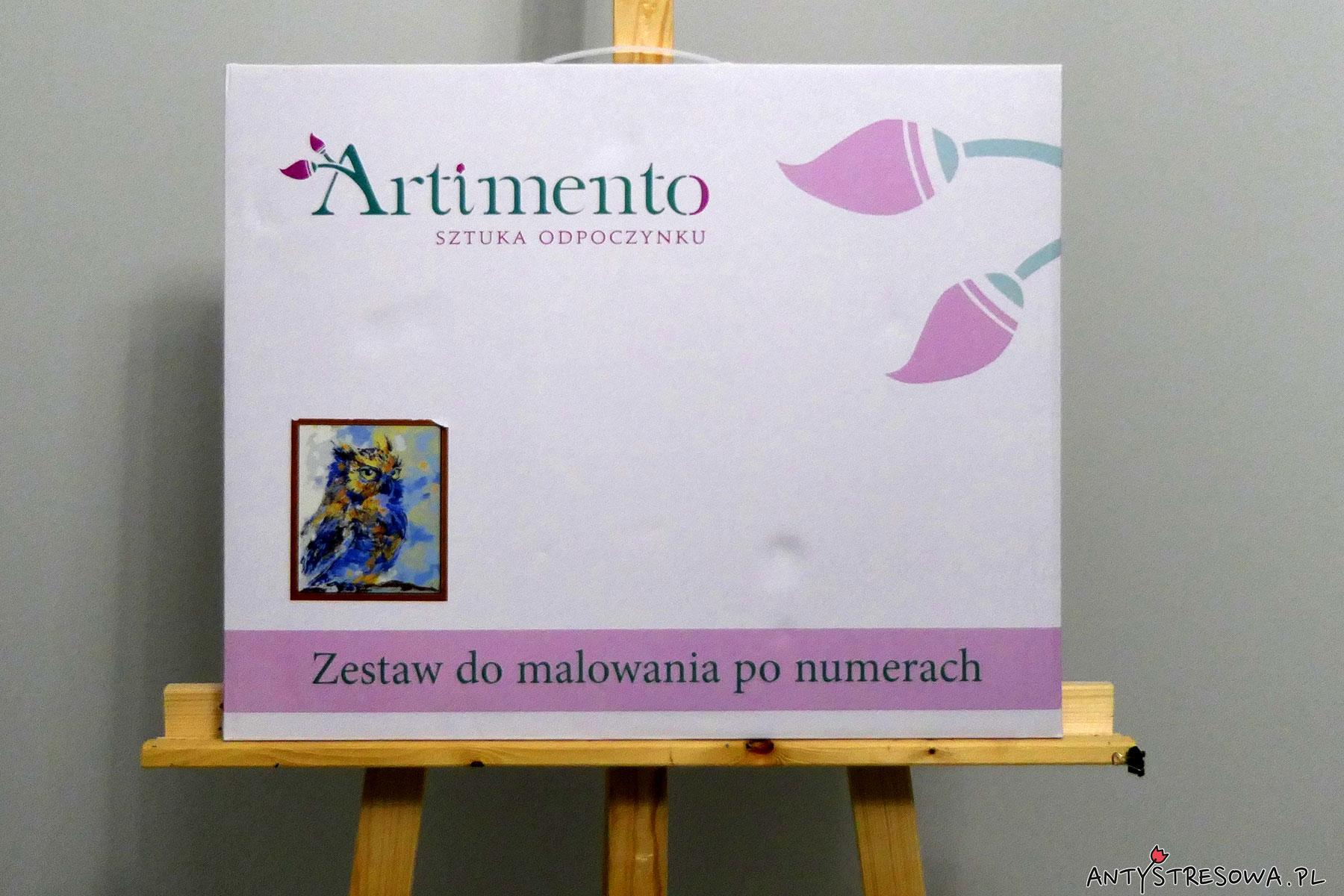 Niebieska sowa - zestaw do malowania po numerach