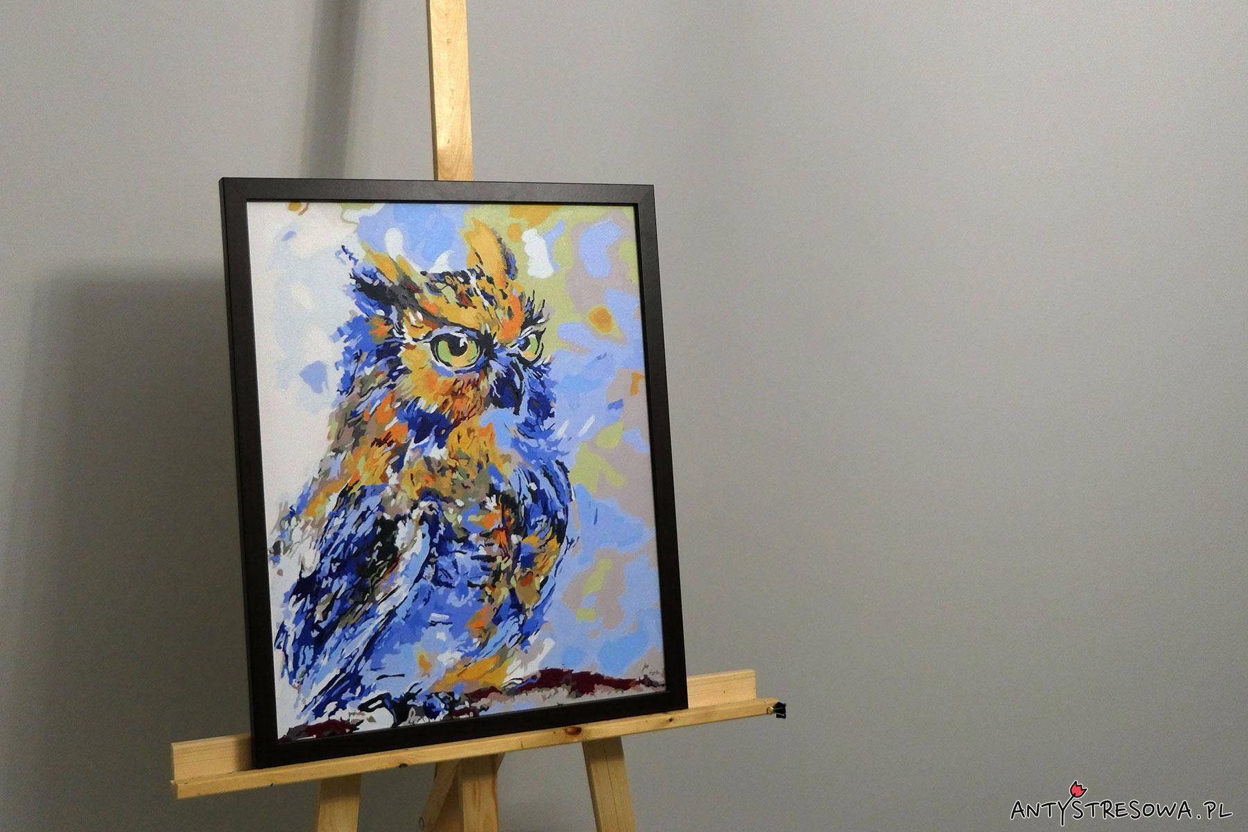 Zestaw do malowania po numerach - gotowy obraz Niebieska Sowa