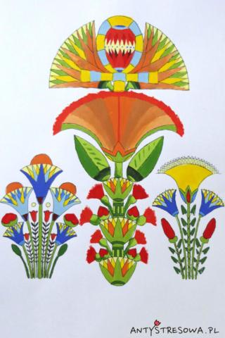 Obrazek farbami akrylowymi, Artists' Colouring Book, Ancient Egypt