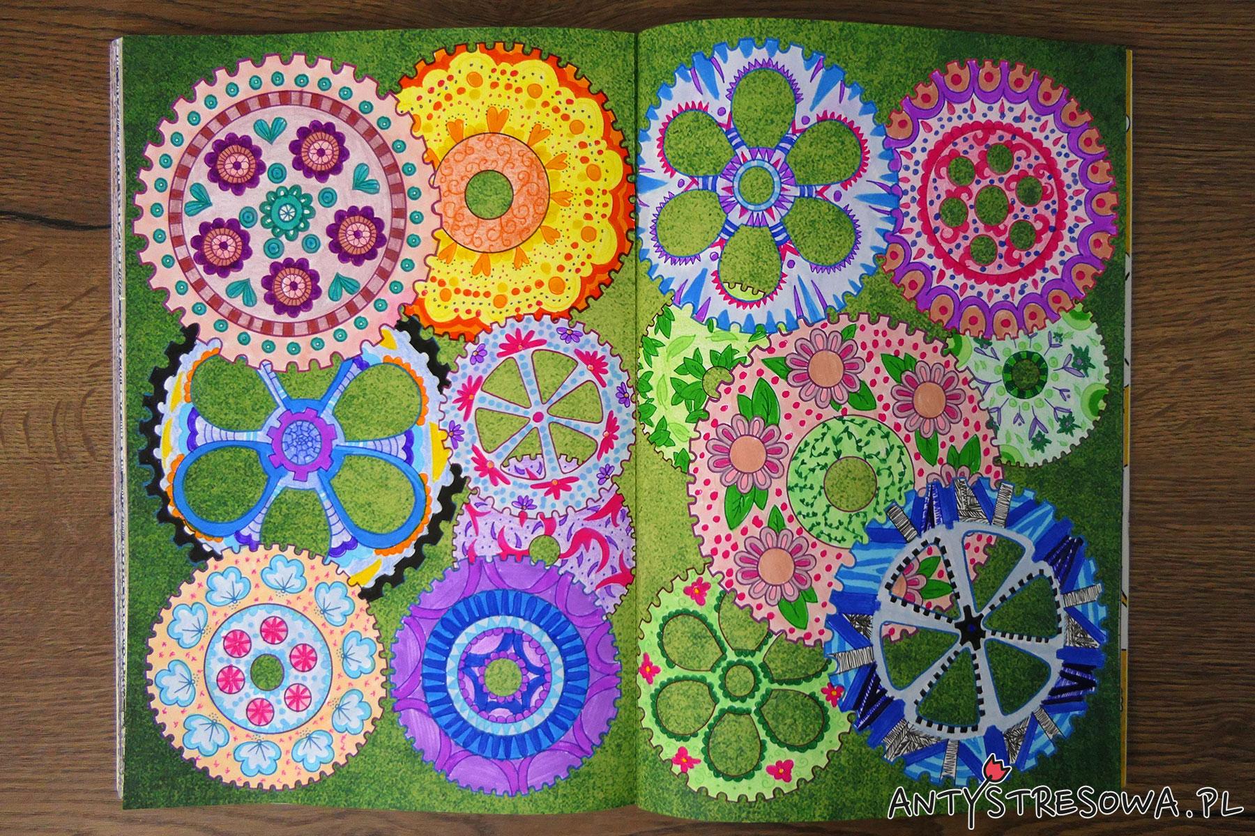 Fantazyjne esy-floresy, uzypełnianie kolorowanek