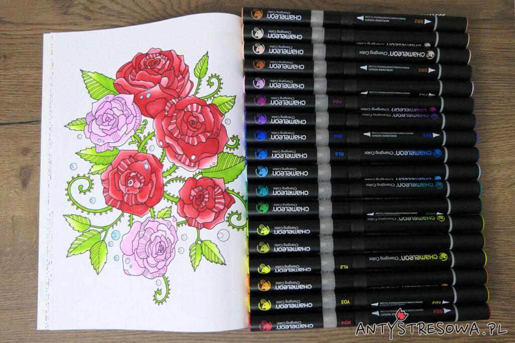 Markery Chameleon i kolorowanka Adult Colouring Book, Deco Time