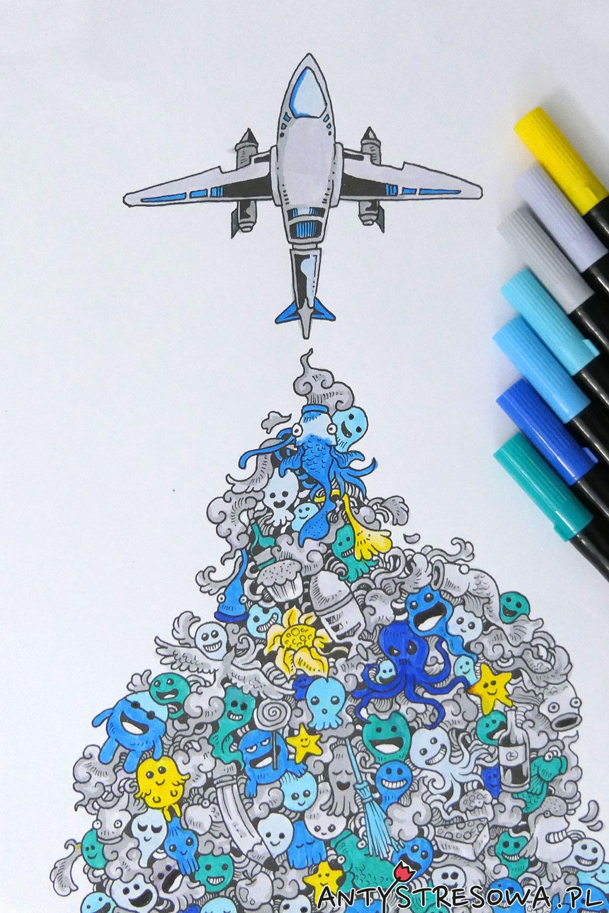 Obrazek z kolorowanki Inwazja Bazgrołów pomalowany pisakami Art & Graphic Twin