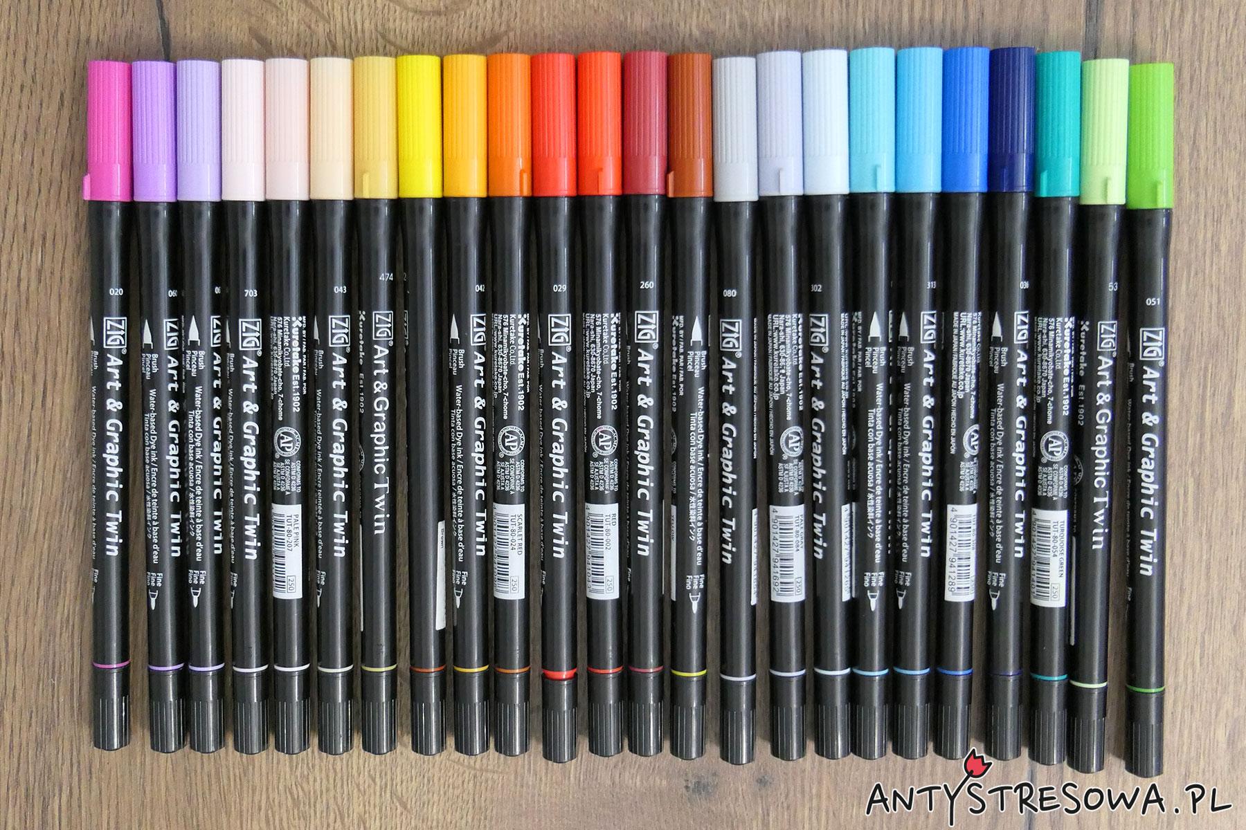 Pisaki Kuretake Art & Graphic Twin 24 kolory