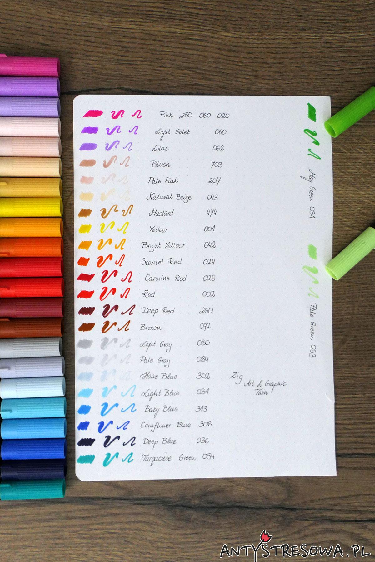 24 pisaki Art & Graphic Twin oraz kartka z wzornikiem