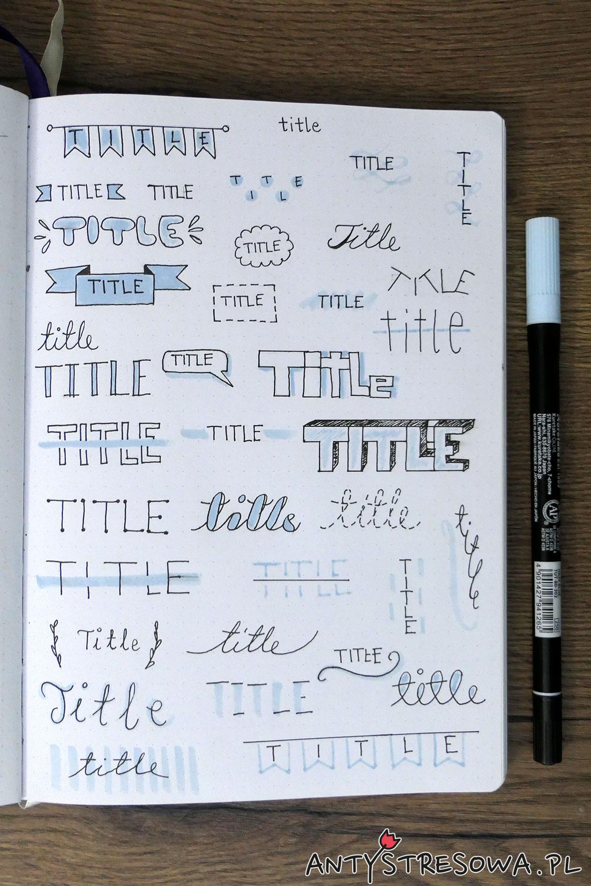Tytuły w dzienniku - pisak Art & Graphic Twin Haze Blue oraz cienkopis PITT Artists Pen Black