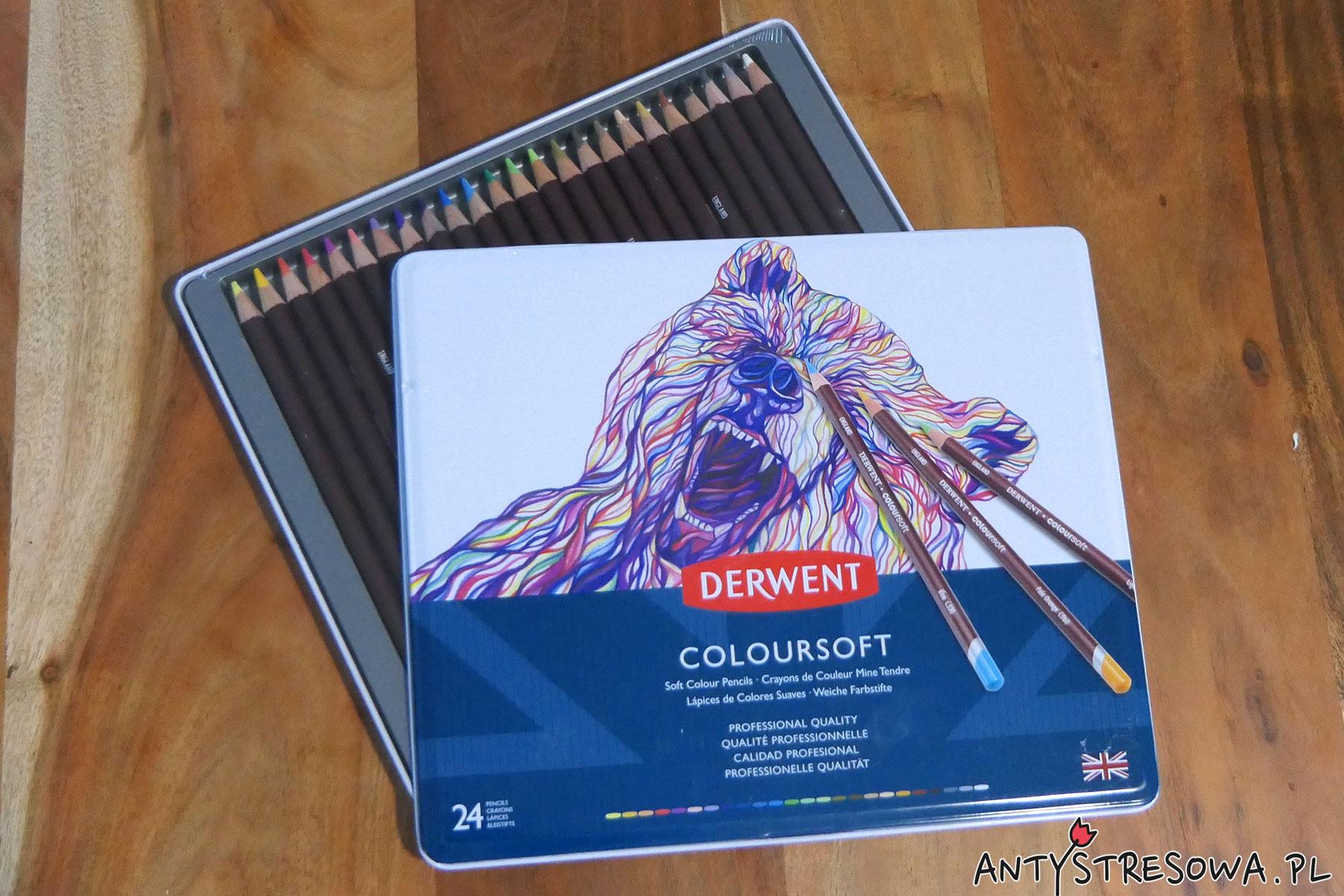 Kredki Derwent Coloursoft 24 kolory - metalowa kasetka