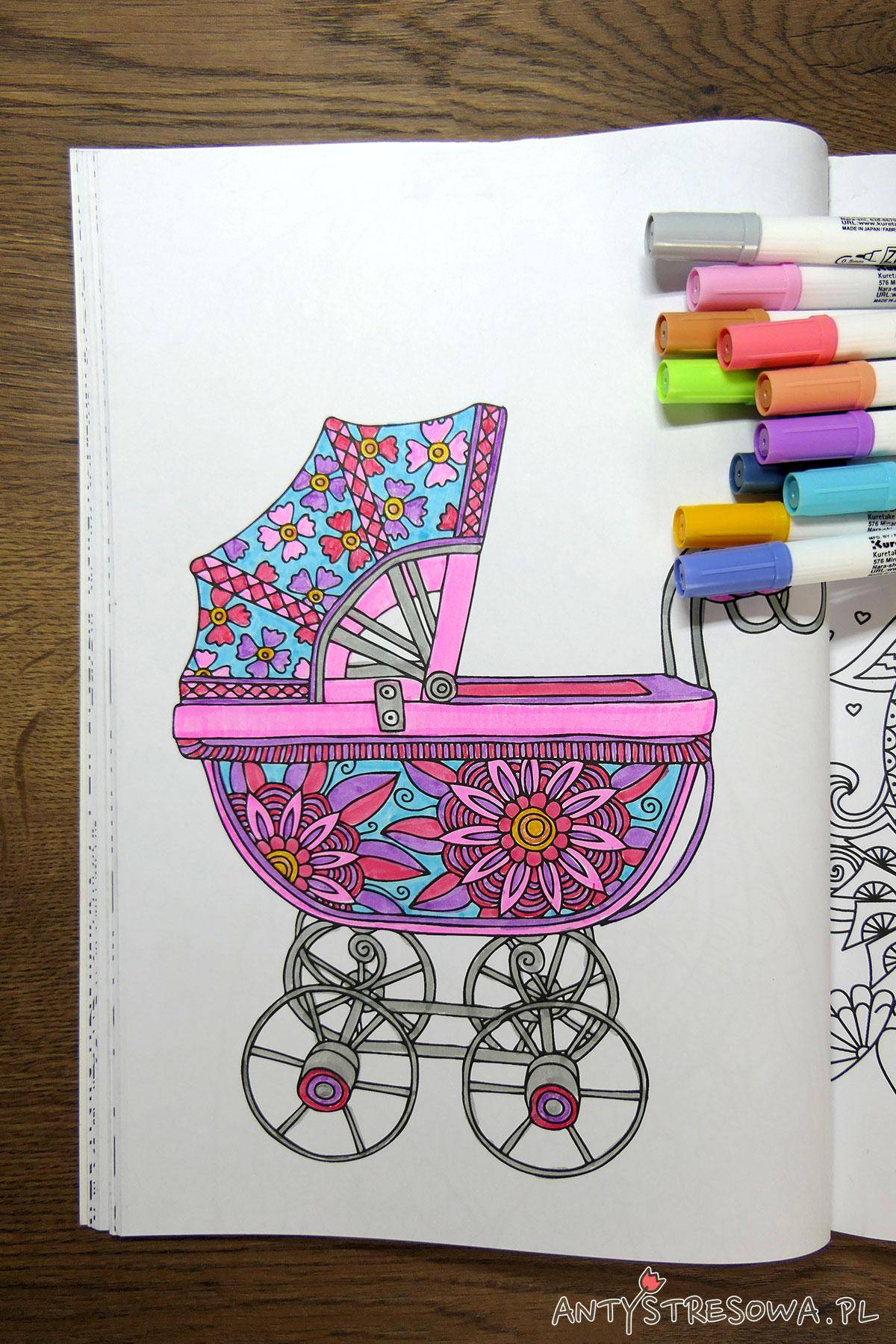 Adult Colouring Book, kolorowanka wózek dziecięcy