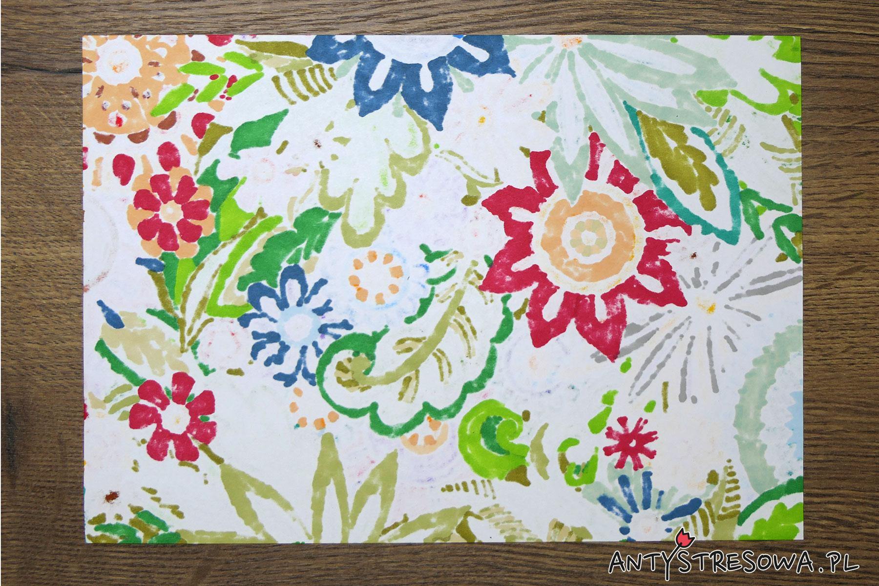 Kolorowanka wykonana  pisakami Clean Color Dot, Art and Graphic Twin, Promarkerami i markerami Chameleon
