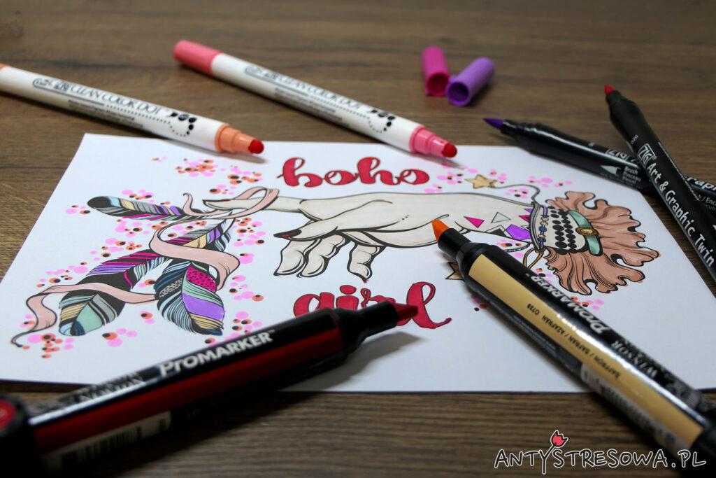 Kolorowanka pomalowana pisakami Art & Graphic Twin i Promarkerami