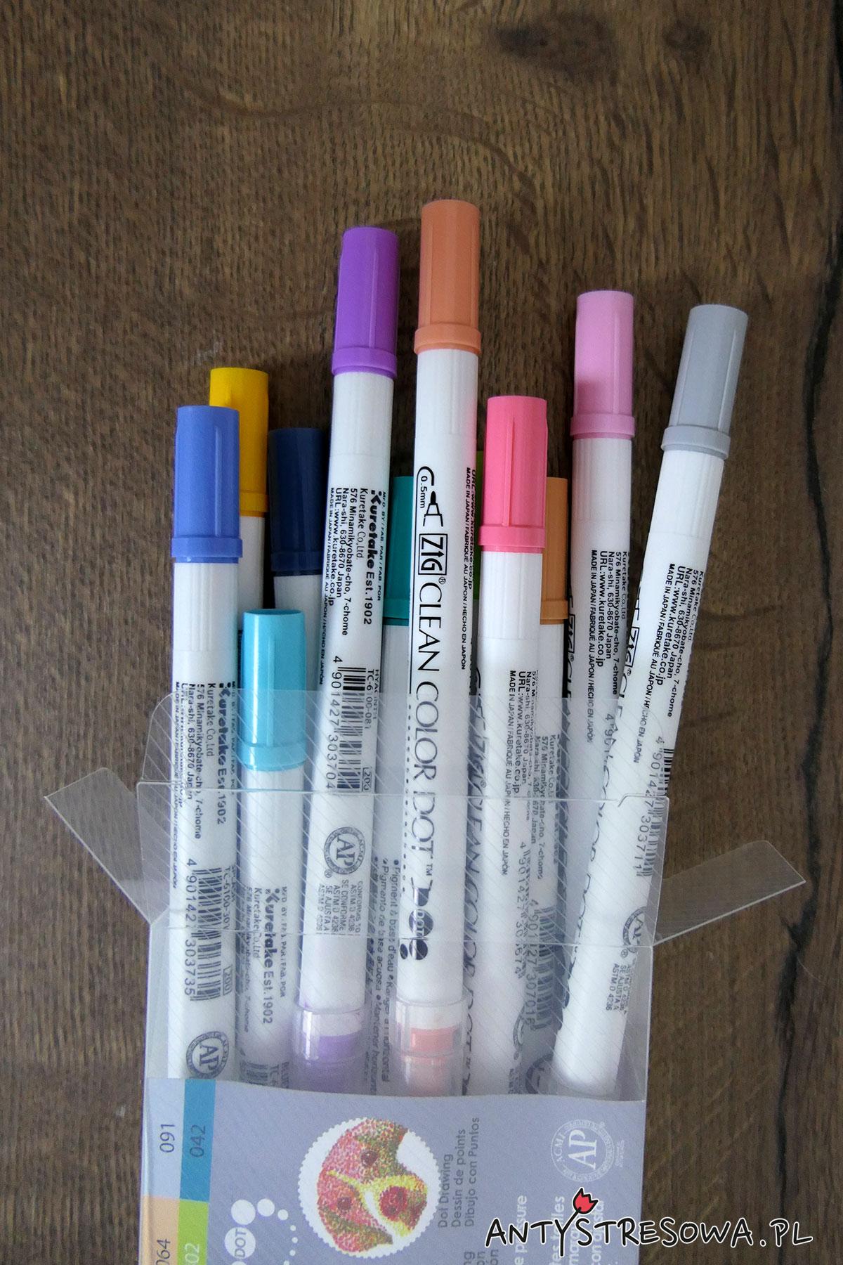 Pisaki Kuretake Clean Color Dot, 12 sztuk