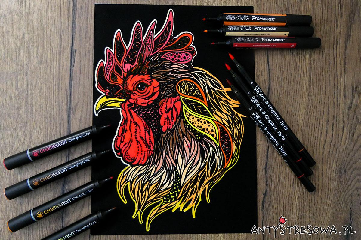 Kogut pomalowany markerami Chameleon, Promarkerami i pisakami Art & Graphic Twin