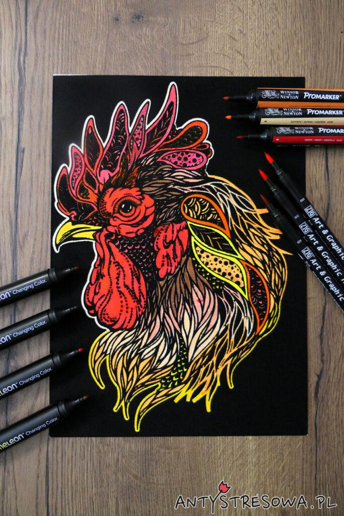 Arkusz welurowy pomalowany Promarkerami, markerami Chameleon i pisakami Art & Graphic Twin