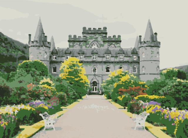 Projekt zamku do malowania po numerach, jaśniejsze barwy