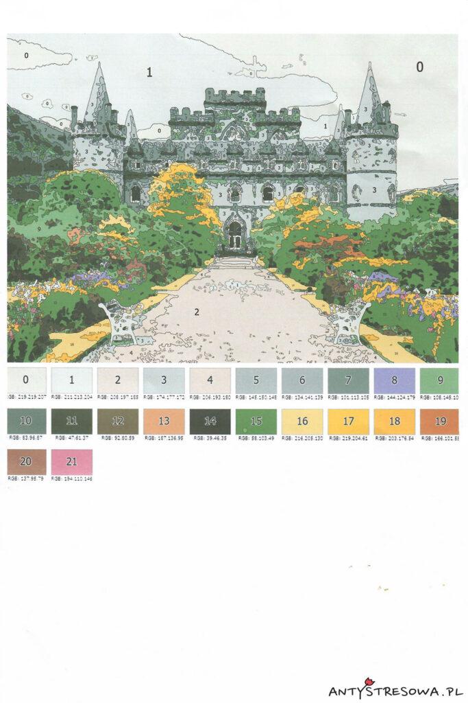 Kartka ze schematem do malowania - widać kolory i numerki