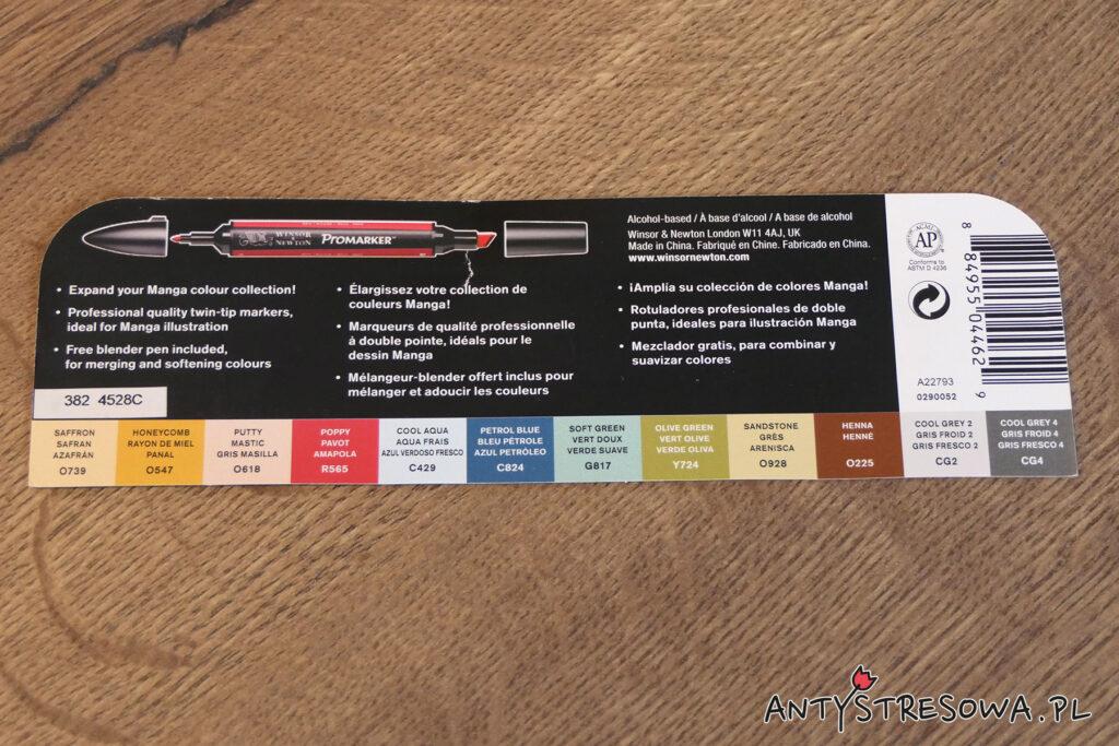Mini ulotka - krótki opis i prezentacja kolorów markerów