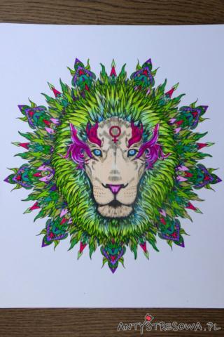 Mandalas Gone Wild - kolorowanka do markerów Chameleon, Lew