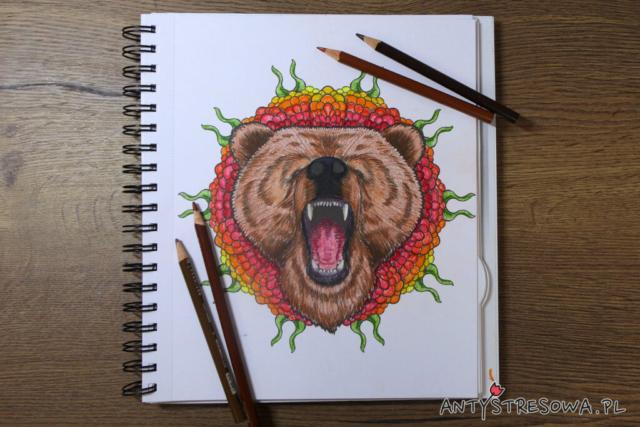 Mandalas Gone Wild - niedźwiedź. Kredki Prismacolor Premier
