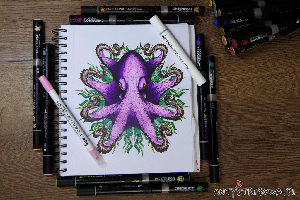 Ośmiornica - markery Chameleon, pisaki Clean Color Dot. Kolorowanka do markerów Mandalas Gone Wild
