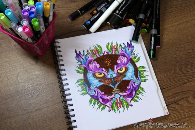 sowa - kolorowanka do markerów