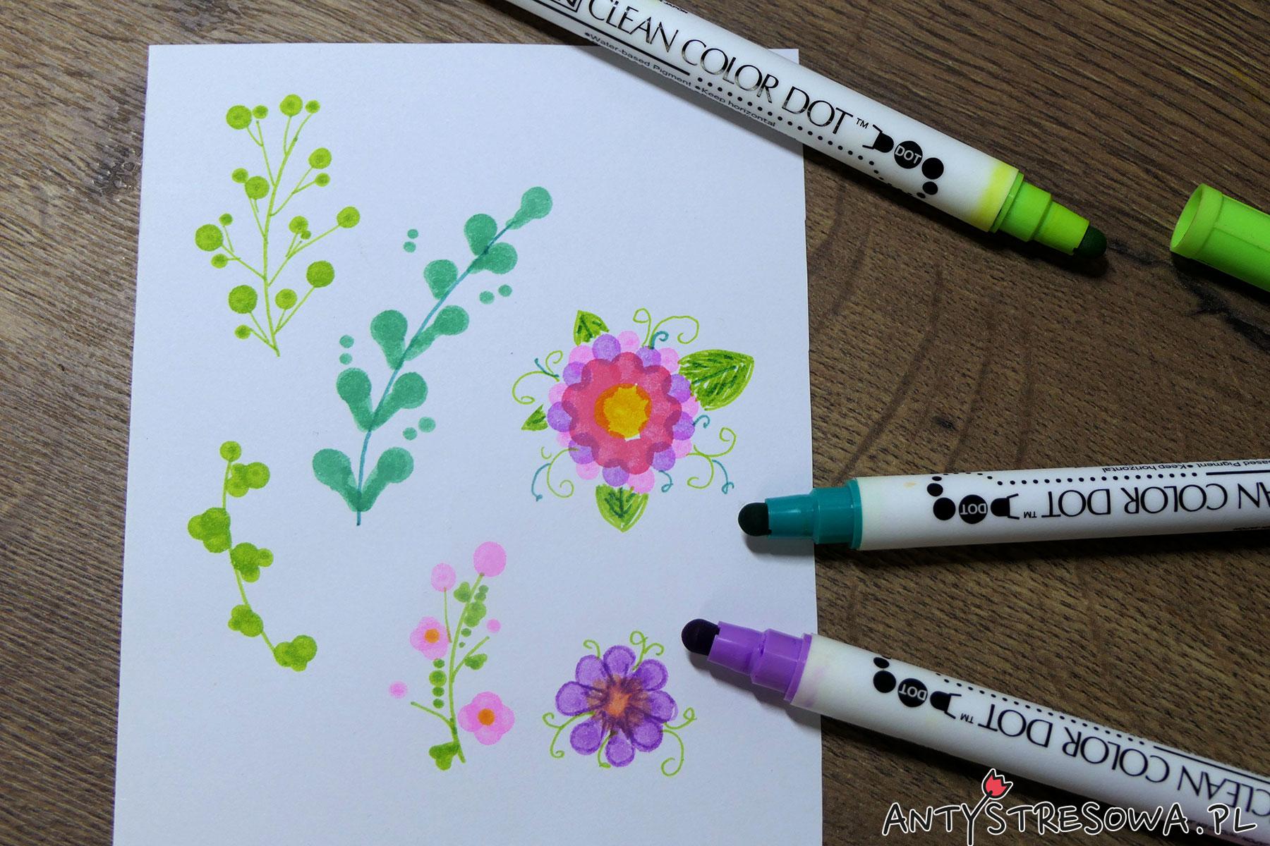 Obrazki zrobione pisakami Clean Color Dot