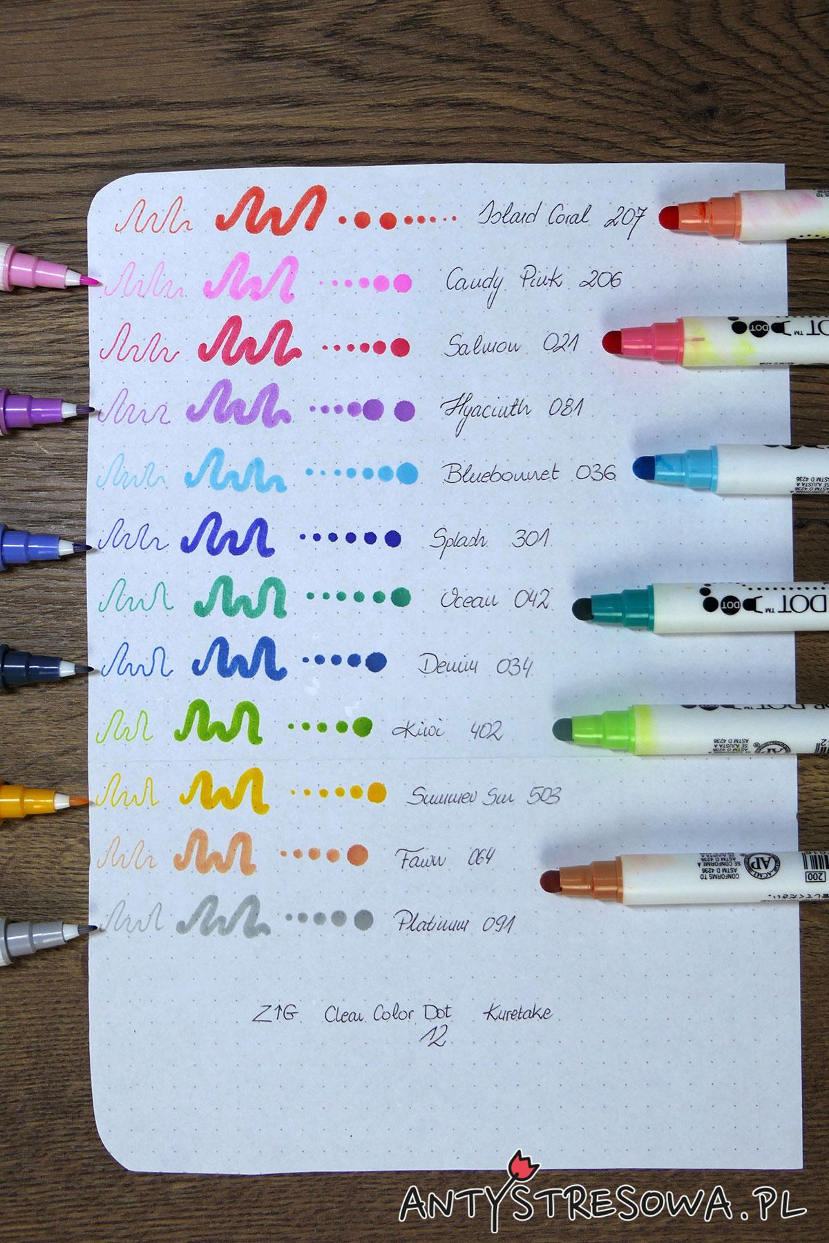 Wzornik pisaków w kształcie kulki Clean Color Dot