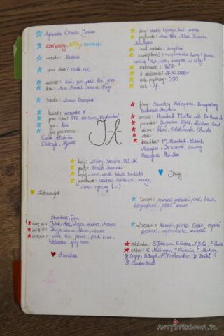 Strony w Bullet Journal - opis siebie