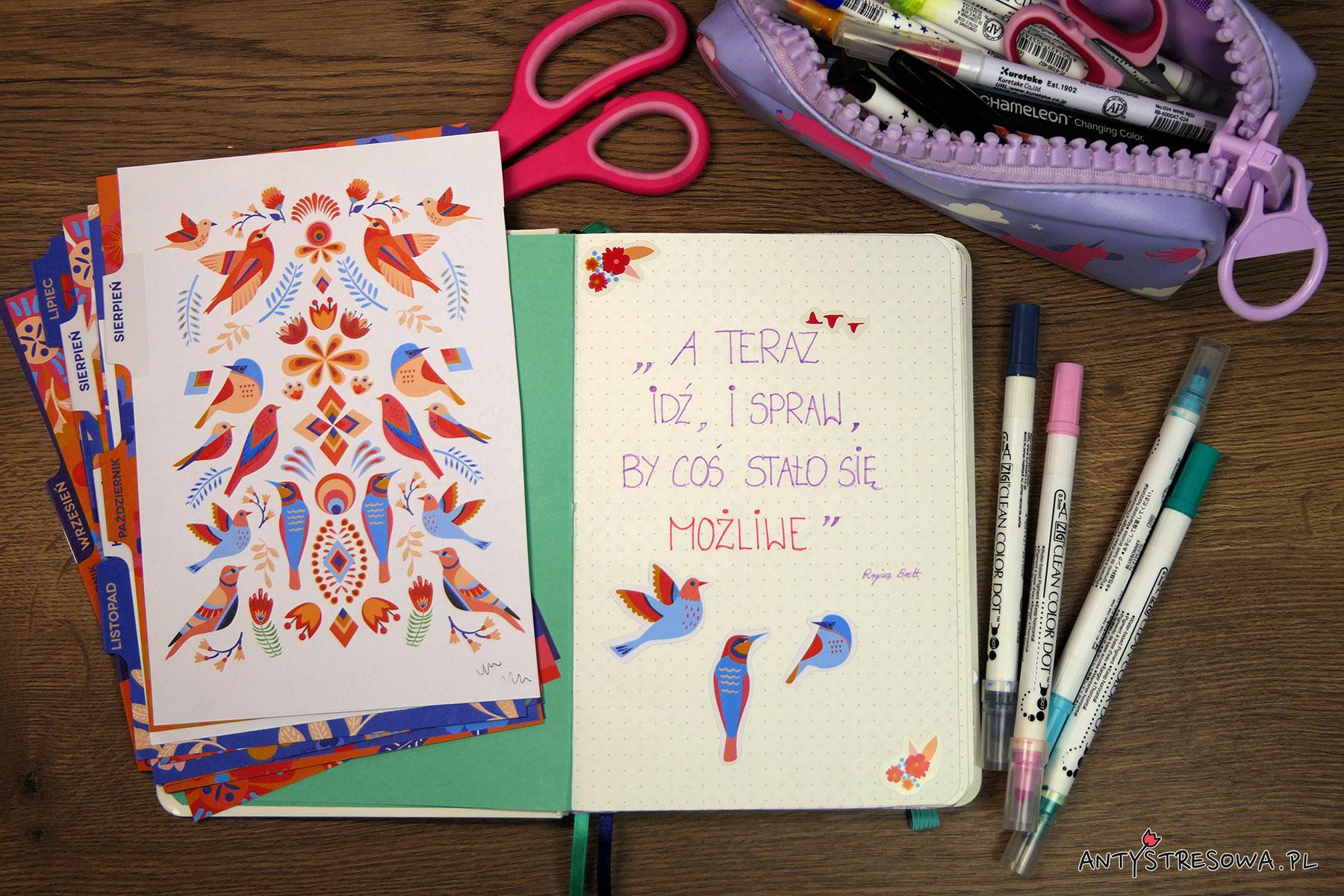 Strony w Bullet Journal - cytaty