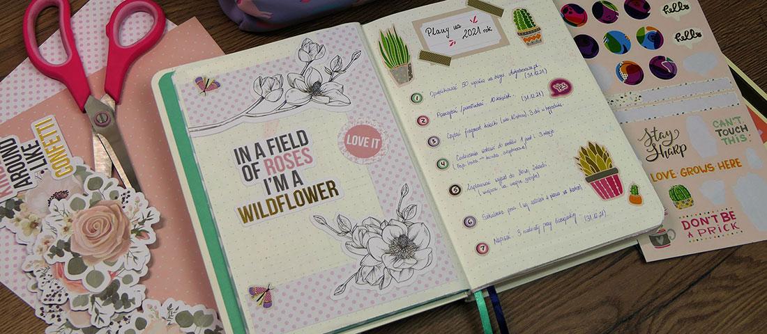 Strony w Bullet Journal - informacje o sobie, zainteresowania, cytaty
