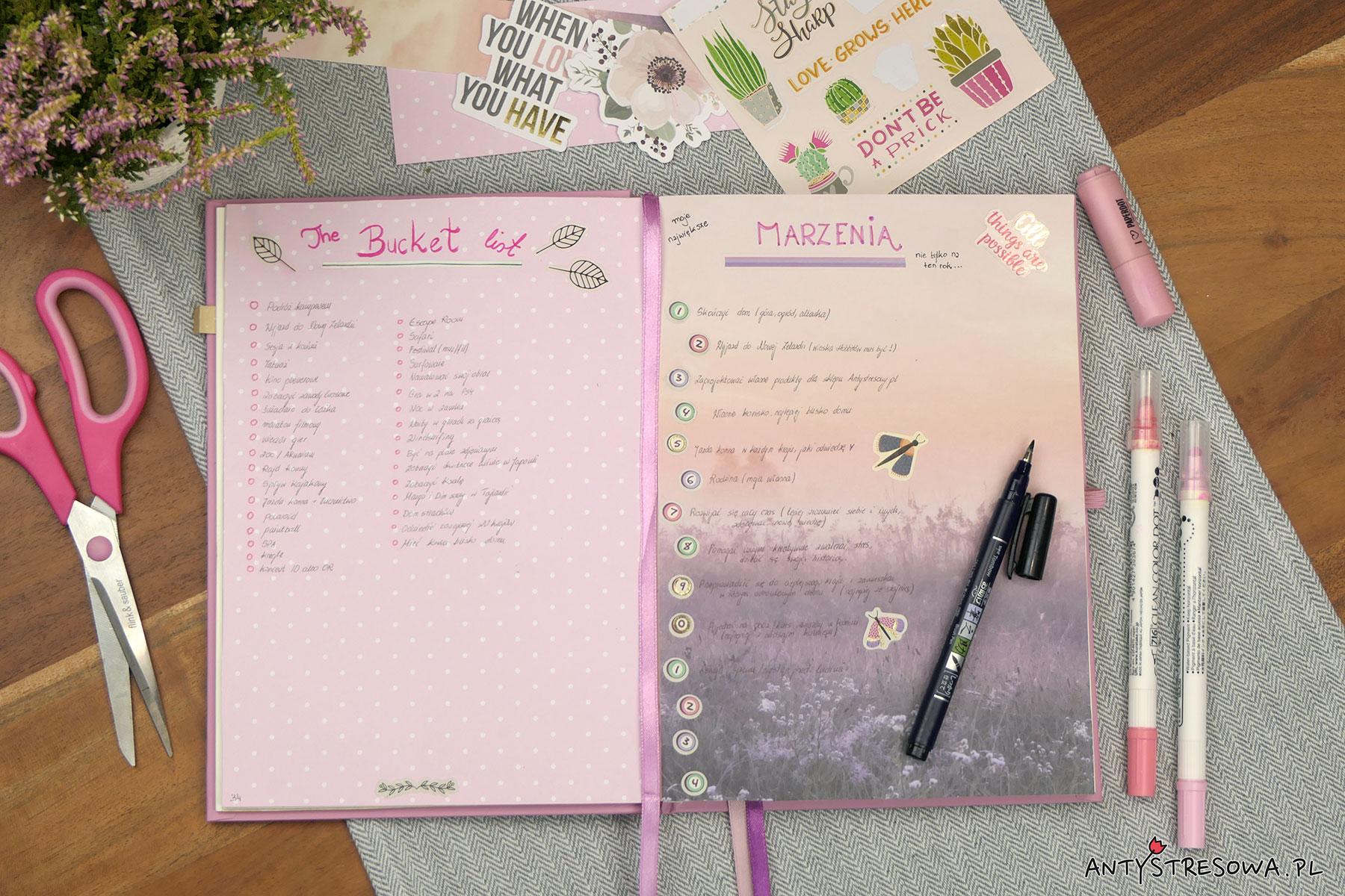Marzenia i Bucket List w Bullet Journal