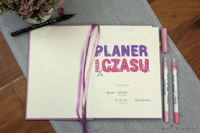 Planer Pełen Czasy - pierwsza strona zeszytu