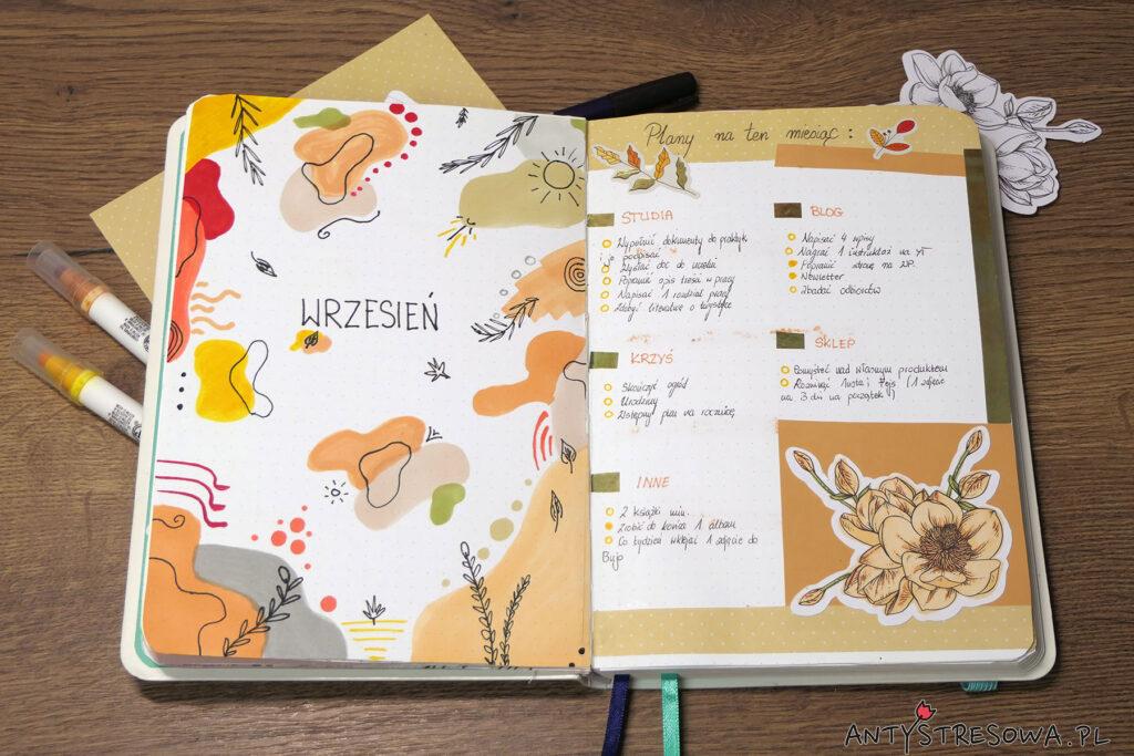 Planowanie miesiąca w Bullet Journal - wrzesień