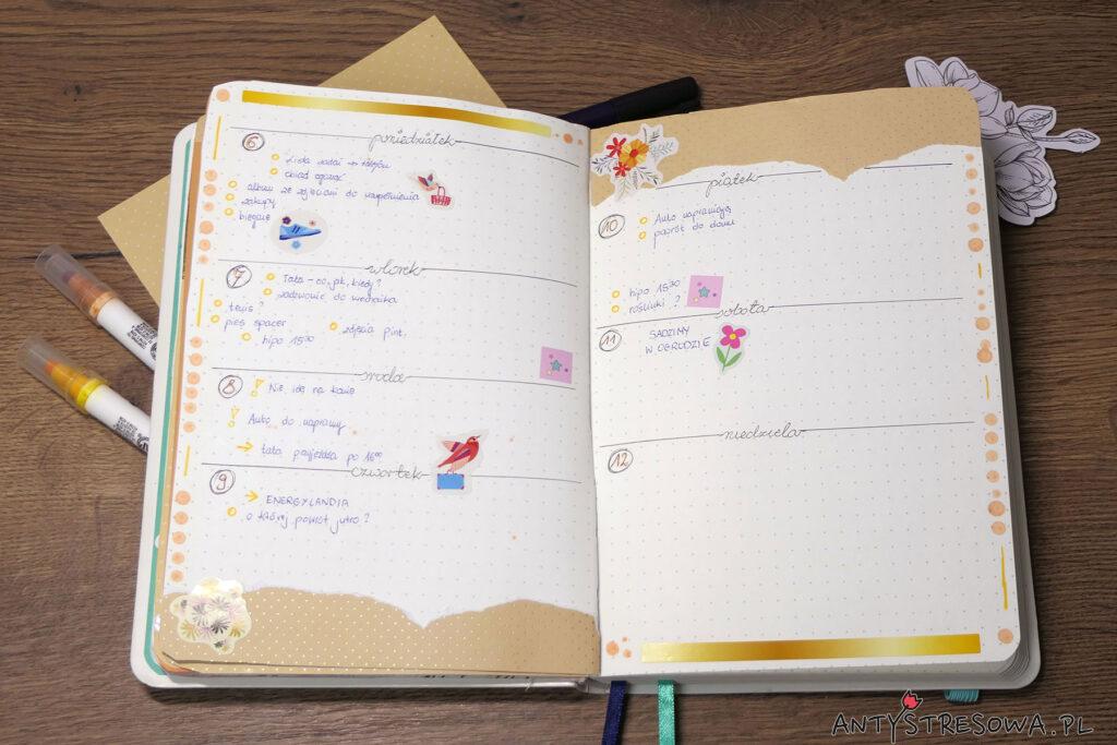 Planowanie w Bullet Journal - tydzień