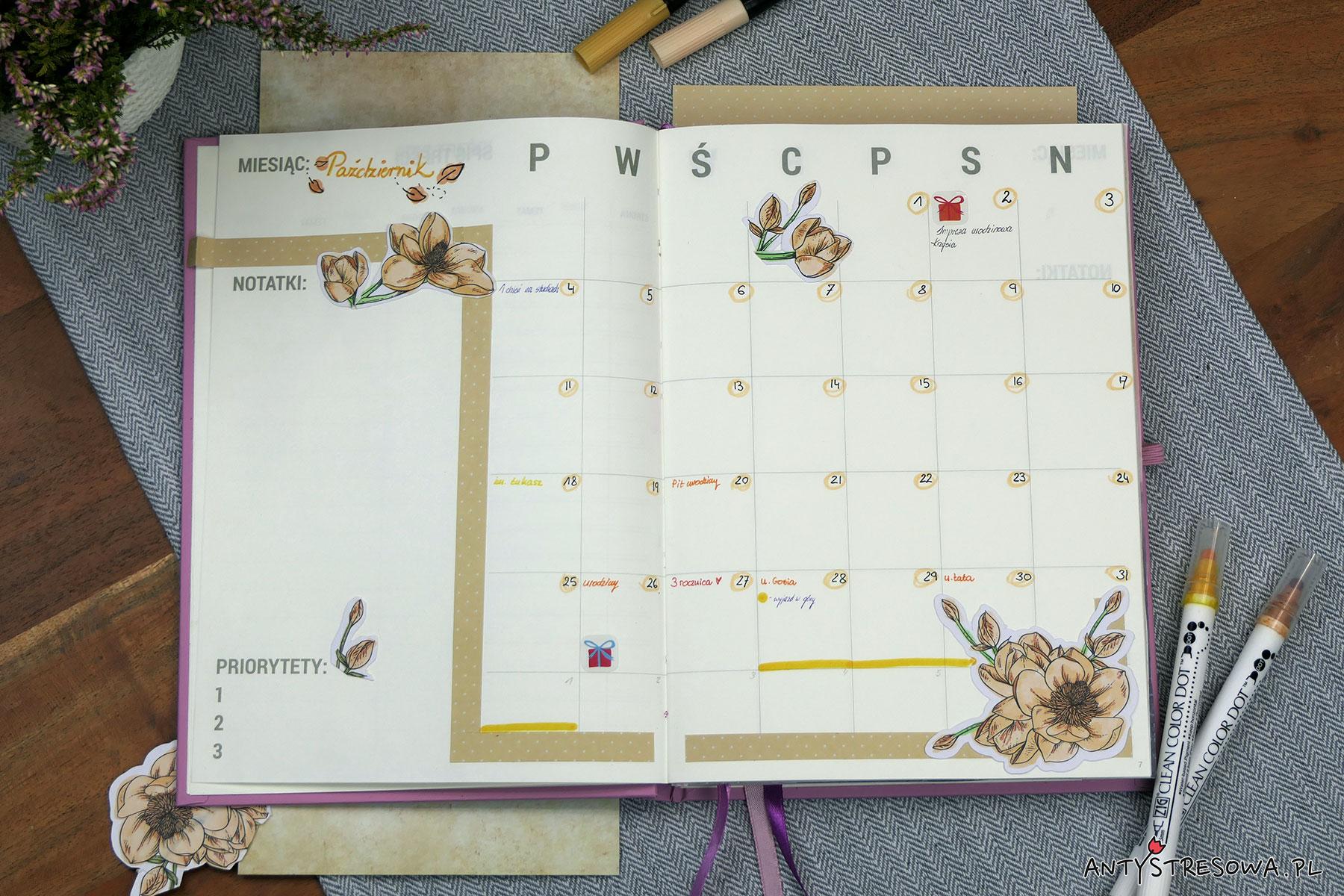 Wstępny plan na październik w moim planerze