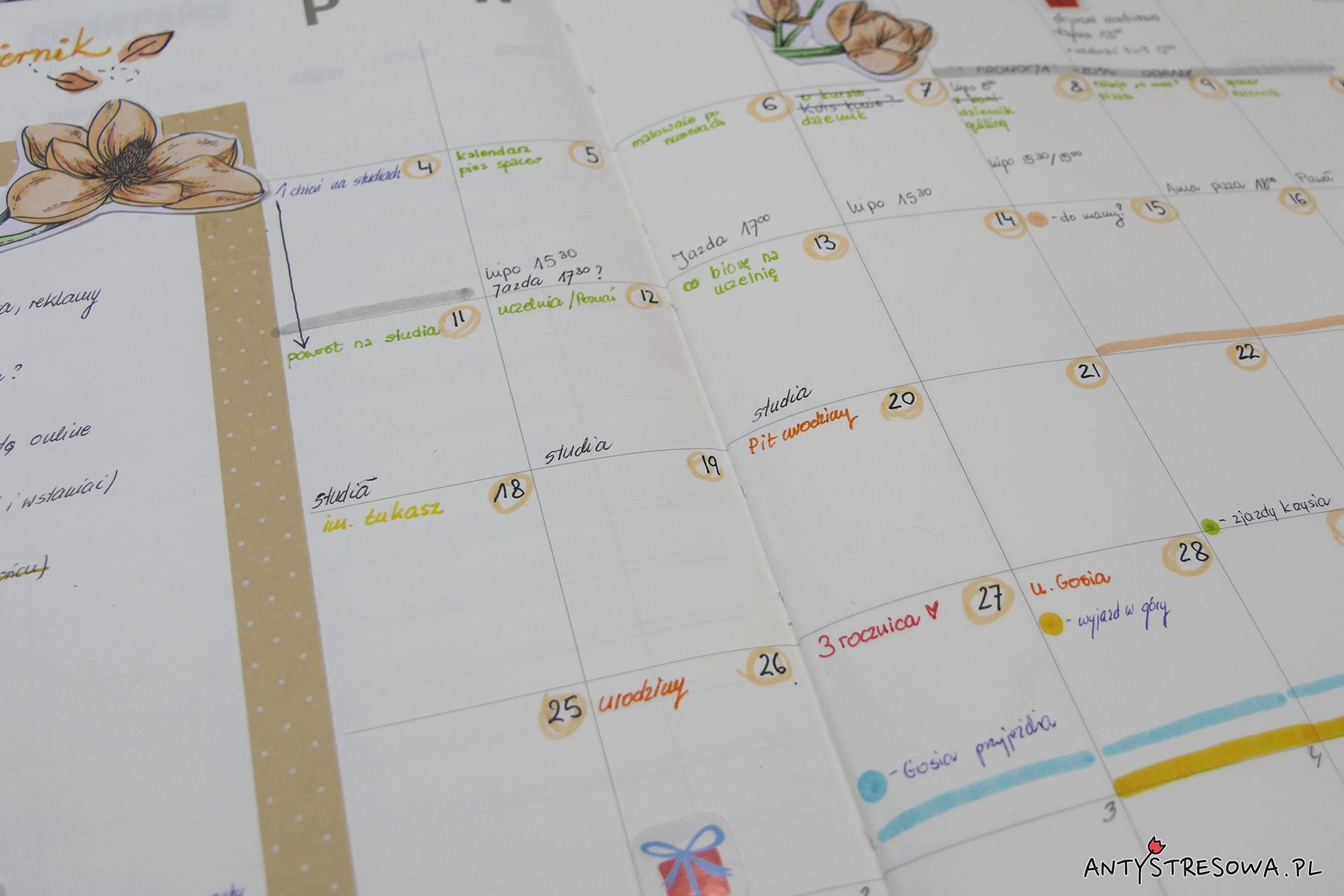Kalendarz publikacji w BuJo